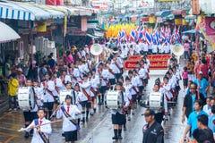 SAMUTSAKHON THAILAND: MAJ 31: En studentmusikband i Samutsakhon Royaltyfri Fotografi