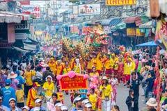 SAMUTSAKHON, THAILAND :  MAY 31 : Golden dragon and Lion doing r Stock Photos