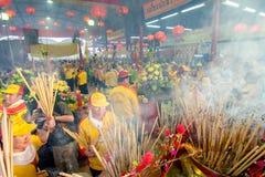 SAMUTSAKHON,THAILAND-MAY 31 : Unidentified people worship during Stock Photos