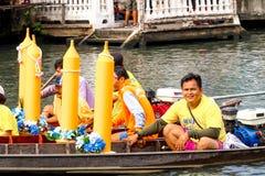 SAMUTSAKORN, ΤΑΪΛΑΝΔΗ - 27 Ιουλίου, παρελάσεις βαρκών κινηματογραφήσεων σε πρώτο πλάνο στη βάρκα TR Στοκ Εικόνες