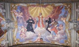 San, affresco nella chiesa francescana dell'annuncio a Transferrina Immagine Stock