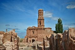 San Agustin Church in Belchite Stock Image