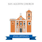 San Agustin Church Manila Philippines vector flat attraction. San Agustin Church in Manila Philippines. Flat cartoon style historic sight showplace attraction Stock Photos