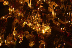SAN ANDRÃ ‰ S MIXQUIC,墨西哥- 2012年11月:叫作` La Alumbrada `日间的每年记念死者 图库摄影