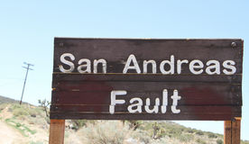 San Andreas Fault Sign Royaltyfri Bild