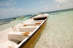San Andres Island, Colombia. Boats anchored in the main beach of San Andres Island, Colombia Stock Images
