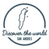 San Andres Map Outline Le vintage découvrent Photo libre de droits