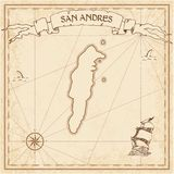 San Andres old treasure map. Sepia engraved template of pirate island parchment. Stylized manuscript on vintage paper Royalty Free Stock Images