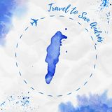 San Andres watercolor island map in blue colors. Travel to San Andres poster with airplane trace and handpainted watercolor San Andres map on crumpled paper Royalty Free Stock Photo