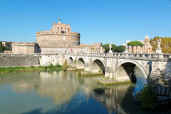 San Angelo Castle in Rome. The Mausoleum of Hadrian, usually known as Castel San Angelo, is a towering cylindrical building in Parco Adriano, Rome, Italy. It was Stock Photo