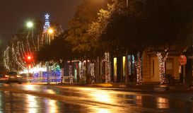 San Angelo Christmas Season. West Texas town San Angelo down town Christmas lights and row showing decorations on store fronts in historic Chadbourne area Stock Photos