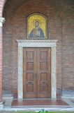 San' Anselmo all'Aventino. A large mosaic of christ adorns the entrance to the San' Anselmo monastery.  Photo taken April 2015 Royalty Free Stock Photography
