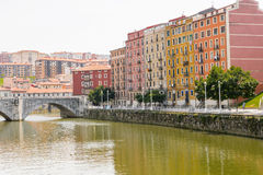 San Anton bridge and Nervion river in Bilbao Royalty Free Stock Image