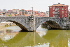 San Anton bridge and Nervion river in Bilbao Royalty Free Stock Photography