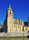 San Anton Church in Bilbao, Spain. Nervion River and San Anton Church in Bilbao, Spain Royalty Free Stock Images