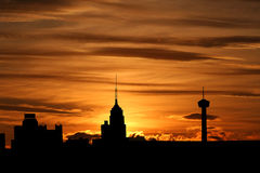 San Antonio bij zonsondergang Royalty-vrije Stock Foto's