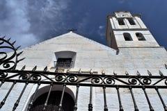 San Antonio church and art iron bars  in Frigiliana - Spanish white village Andalusia Royalty Free Stock Photos