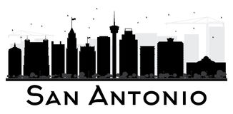 San Antonio City skyline black and white silhouette. Vector illustration. Simple flat concept for tourism presentation, banner, placard or web site. Cityscape Stock Images