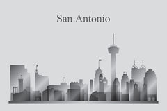 San Antonio city skyline silhouette in grayscale. Vector illustration vector illustration