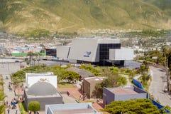 San Antonio de Pichincha, Pichincha, Ecuador - May 29, 2018: Aerial view of the modern building of UNASUR at the enter stock photos