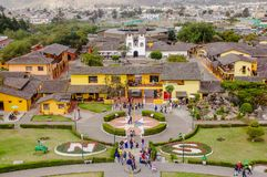 San Antonio de Pichincha, Pichincha, Ecuador - May 29, 2018: Aerial outdoor view of building inside of the Ciudad Mitad royalty free stock images