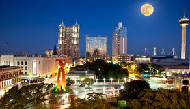 San Antonio and Full moon. Summer full moon rising over the city of San Antonio, Texas royalty free stock photography