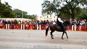 San Antonio, il Texas U.S.A. - 3 febbraio 2018: Il cavallo ed il cavaliere di Paso Fino vanno dopo Alamo storico durante la parat stock footage