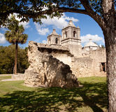 San Antonio Mission Concepcion in Texas. View of the ruined walls surrounding the Concepcion Mission near San Antonio in Texas stock photography