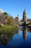 San Antonio Reflection. A riverwalk reflection of a tower in the San Antonio skyline Stock Photography