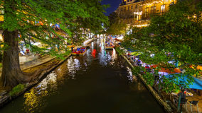 San Antonio River Walk at Night in San Antonio, Texas Stock Photos