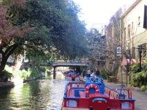 San Antonio Riverwalk cruise. And Hop-on Hop-off tour in San Antonio, Texas Stock Images
