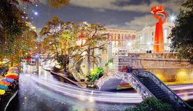 San Antonio Riverwalk la nuit Image libre de droits