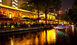 San Antonio Riverwalk at night Stock Photography
