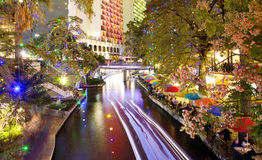 San Antonio Riverwalk at night Royalty Free Stock Photos