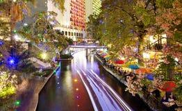 San Antonio Riverwalk at night. San Antonio Riverwalk lit for Christmas Royalty Free Stock Photos