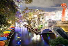 San Antonio Riverwalk at night. San Antonio Riverwalk lit for Christmas royalty free stock photos