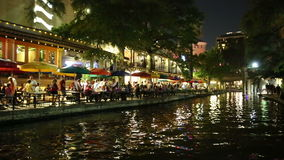 San Antonio Riverwalk at night stock footage