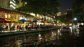 San Antonio Riverwalk at night stock video footage