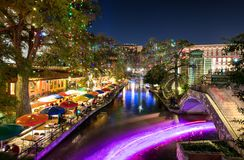 San Antonio Riverwalk, Texas. San Antonio Riverwalk lit for Christmas stock photography