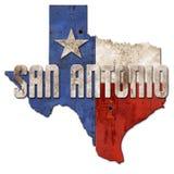 San Antonio Sign Grunge Texas Flag Lone Star Metal. Tin old antique TX rustic cowboys rusted vector illustration