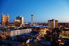 San Antonio skyline. San Antonio downtown just after sunset showing skyline around Tower of the Americas & Alamodome royalty free stock images