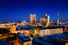 San Antonio skyline. San Antonio downtown just after sunset showing skyline around Tower of the Americas & city lights royalty free stock photography
