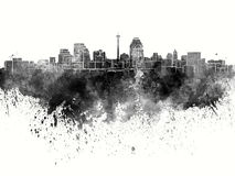 San Antonio skyline in black watercolor. On white background Royalty Free Stock Photography
