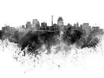 San Antonio skyline in black watercolor. On white background royalty free illustration