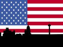 San Antonio skyline with flag. San Antonio skyline with American flag illustration royalty free illustration