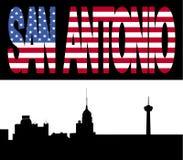 San Antonio Skyline with flag. San Antonio Skyline with San Antonio flag text illustration Stock Photos