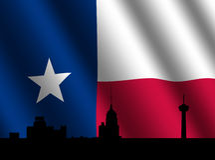 San Antonio skyline with flag. San Antonio skyline with rippled Texan flag illustration Stock Photo