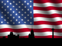 San Antonio skyline with flag Royalty Free Stock Photography