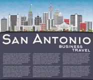 San Antonio Skyline with Gray Buildings, Blue Sky and Copy Space Royalty Free Stock Photos