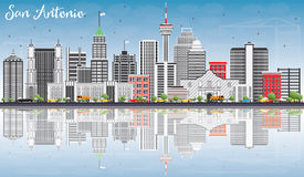 San Antonio Skyline with Gray Buildings, Blue Sky and Reflection. S. Vector Illustration. Business Travel and Tourism Concept with Modern Architecture. Image for stock illustration
